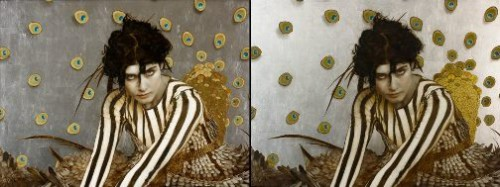 Bird of Paradise.  Gold leaf oil painting by American artist Brad Kunkle