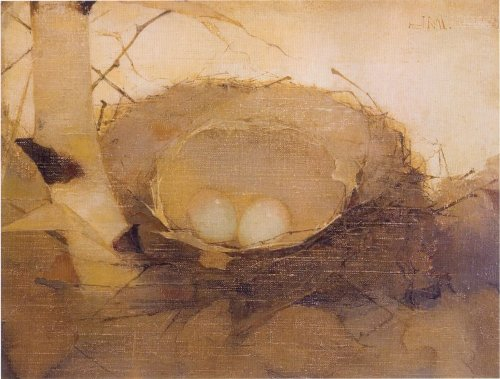 Bird's Nest with birch trunk. Dutch painter Jan Mankes