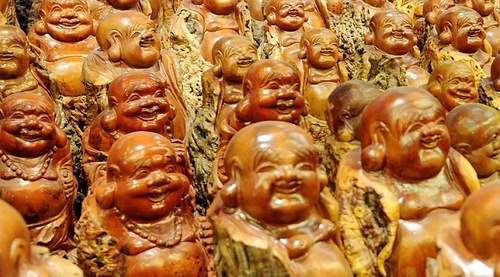 Buddha sculptures on display in Zhengzhou, China