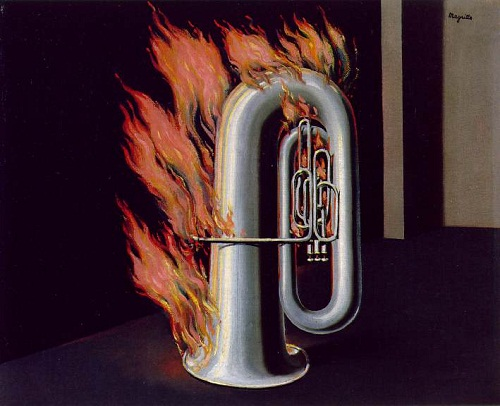 Discovery of fire. Surreal painting by Belgian artist Rene Magritte