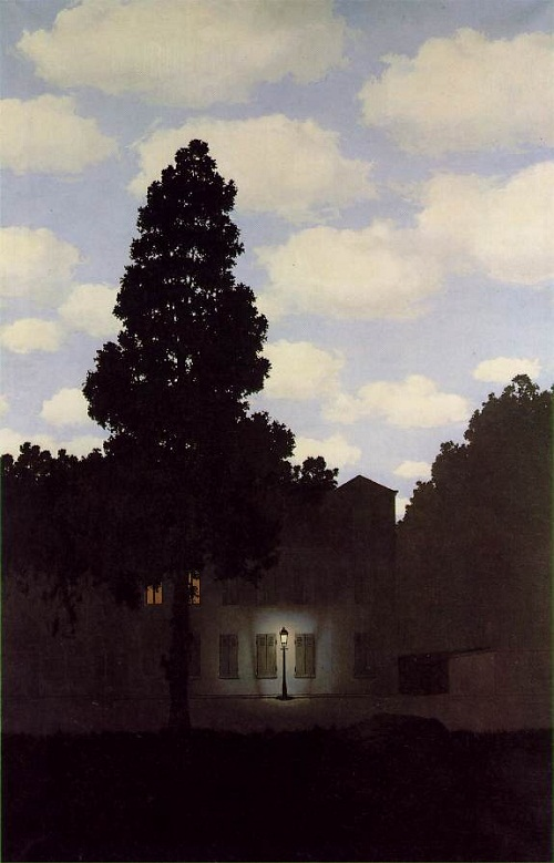 Empire of Light, 1954. Surreal painting by Belgian artist Rene Magritte