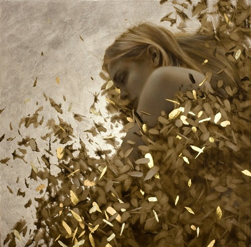 Gold leaf oil painting by brad kunkle art kaleidoscope - Leaves paintings and drawings ...