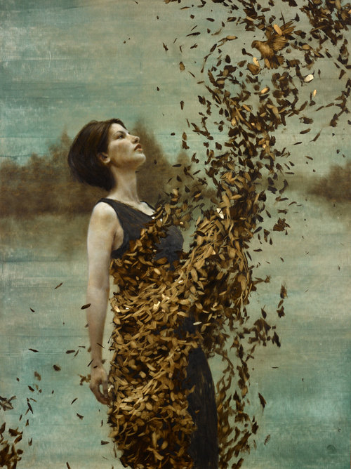 Gold leaf oil painting by American artist Brad Kunkle