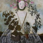 In a flower wreath, painting by Anne Siems