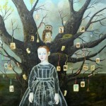 Owl tree. Painting by Anne Siems