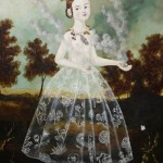 A girl in a transparent dress decorated with flowers. Painting by Anne Siems