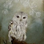 Gray owl. Painting by Anne Siems