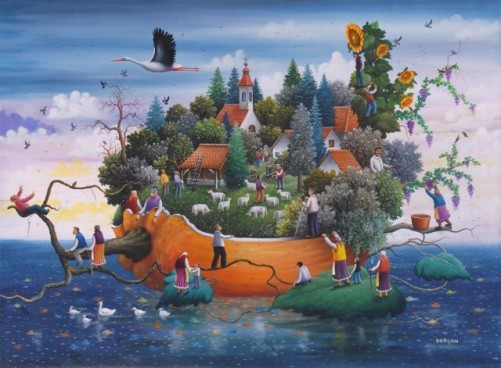 Painting by Dragan Mikhailovich. Serbian Naive Painting