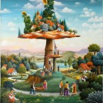 Town of mushrooms. Painting by Dragan Mikhailovich