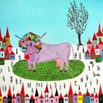 A pink cow. Painting by Gordana Dieloshevich