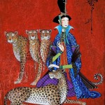 Leopards and woman on red background