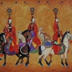 The three in folk dresses on horses