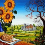 Sunflowers. Colorful painting by Zoran Zarich
