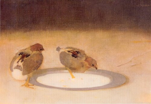 Two chicks with a tin plate