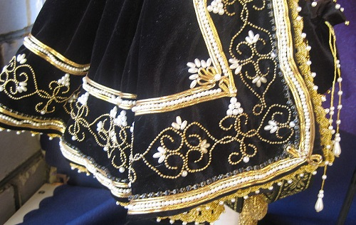 17th century Spain doll, detail of costume. Artist of applied art Elena Nechayeva