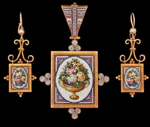1860-80, the set of earrings and pendant larger