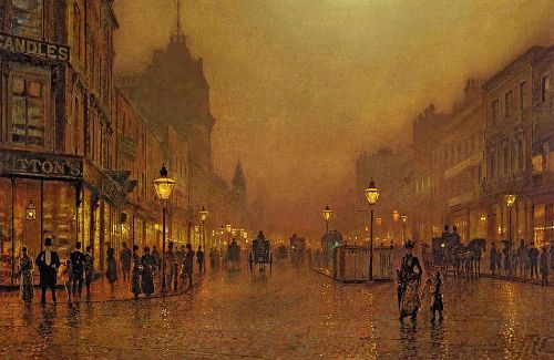 1a Street at Night. Moonlight Painter John Atkinson Grimshaw