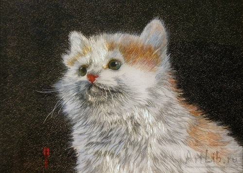 3D embroidery 'Kitten' by self-taught artist of applied art Marina Nesterova