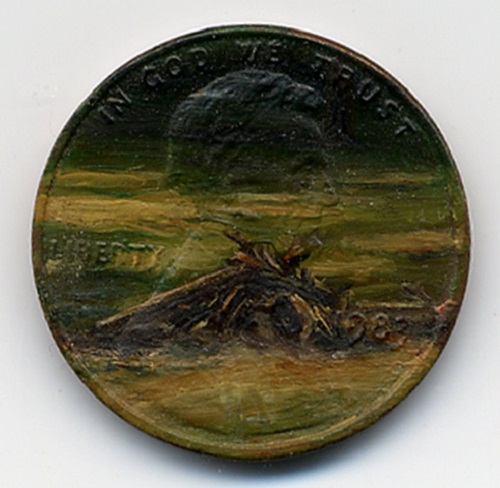 Painting on coins by Jacqueline Lou Skaggs