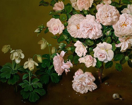 A Rose Shrub, detail. Painting by Spanish artist Jose Escofet
