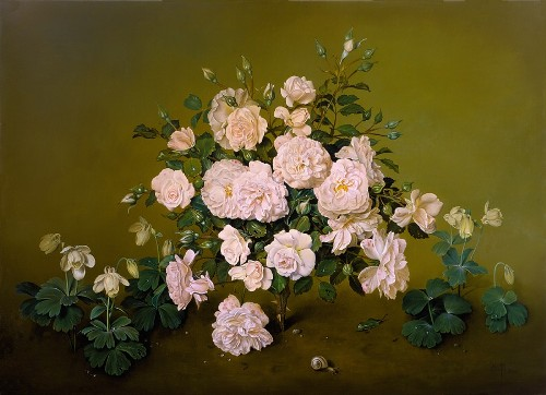 A Rose Shrub, oil on canvas, 2000. Painting by Spanish artist Jose Escofet