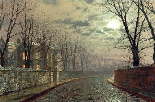 A Street By Moonlight. Moonlight Painter John Atkinson Grimshaw