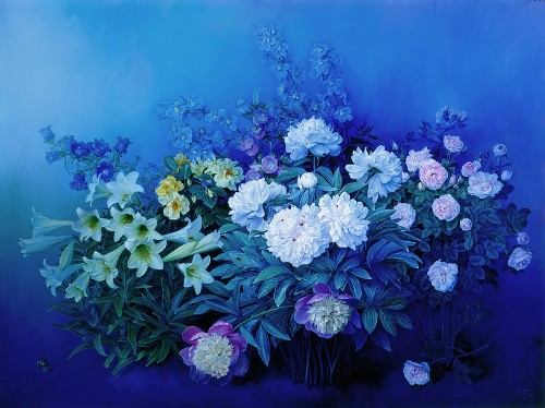 A Vision in Blue, oil on canvas, 2003. Still life painting by Jose Escofet