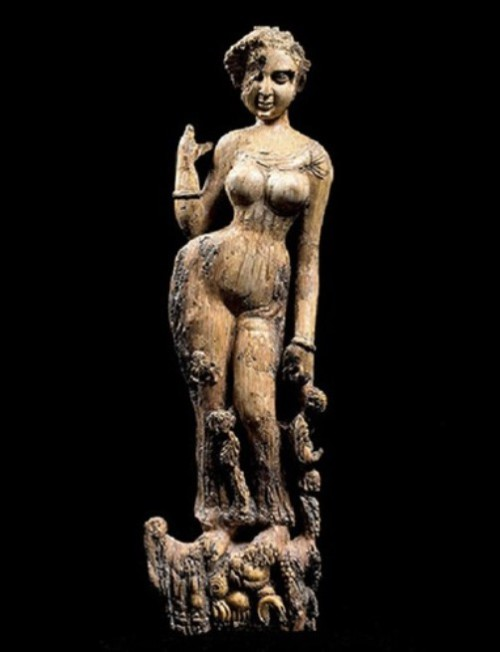 A woman, ivory Figurine, maybe decoration of furniture. Bagram, 1-2nd century AD