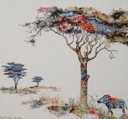 Acacia tree and warthog. Textile embroidery by British fine artist Sophie Standing