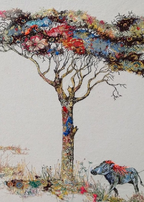 Acacia & warthog. Textile embroidery by British fine artist Sophie Standing