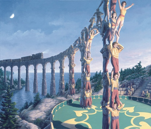 Acrobatic Engineering. Canadian painter of magic realism Rob Gonsalves