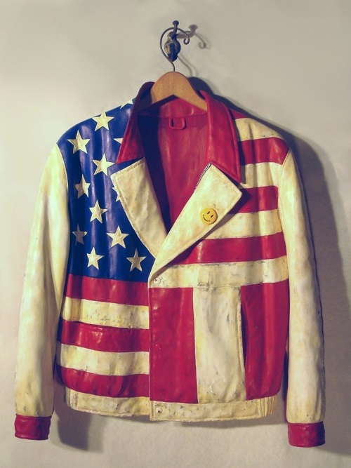 'American Jacket' Carved wood & mixed media, 2010. Hyperrealistic wood carving by American artist Fraser Smith