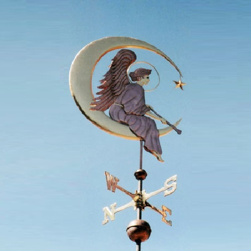 Angel Weather Vane on Moon. The West Coast Weather Vanes art studio, California
