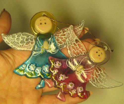 Angels - decorations for Christmas tree. Glass. Fusing. Artist Elena Nechayeva