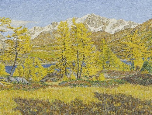 Autumn landscape with Silvaplanersee and Piz Corvatsch in the background. Maloja. 1931. Painting by Italian artist Giovanni Segantini
