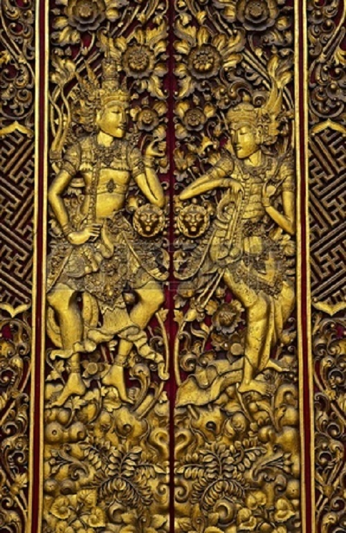 Doors as art. Beautiful Carved Wooden Door in Bali, Indonesia