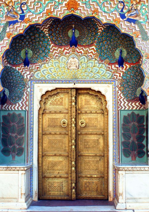 Doors as art. Beautiful peacock door to the City Palace of Jaipur, India