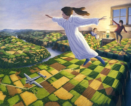 Bedtime Aviation. Painting by Canadian artist Rob Gonsalves