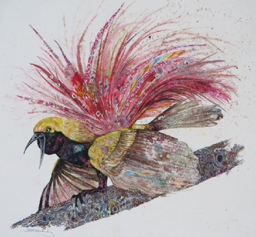 Bird of Paradise. Textile embroidery by British fine artist Sophie Standing