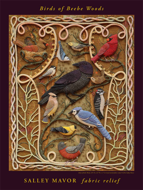 Birds of Paradize - Stump embroidery by Salley Mavor, artist of applied art from Massachusetts