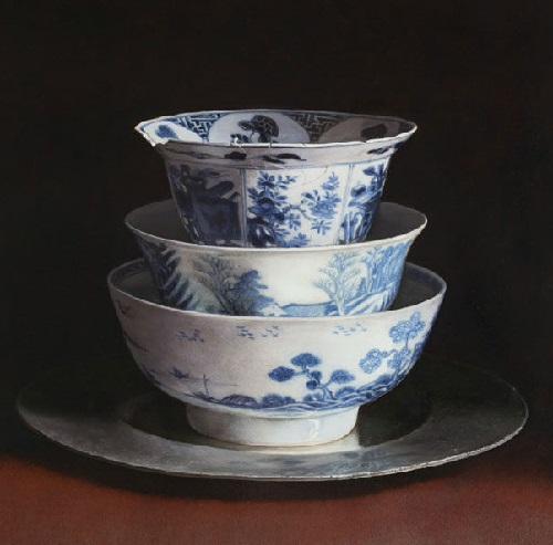 Bowls on tin plate. 2013. Oil on panel. Painting by Uzbek artist Erkin