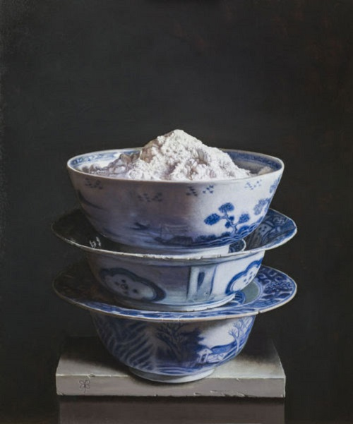 Bowls with flour. 2013. Oil on panel. Painting by Uzbek artist Erkin