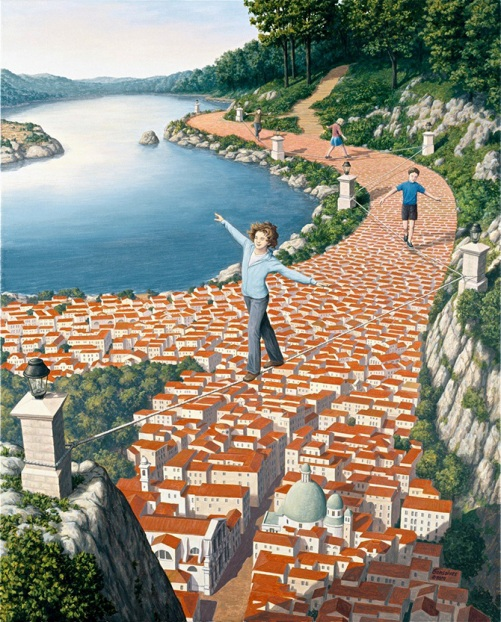 Brave acrobats. Painting by Canadian artist Rob Gonsalves