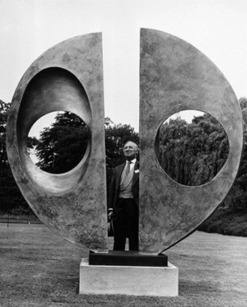 Bronze sculpture by Barbara Hepworth 'Two Forms'. Most expensive loss of world art