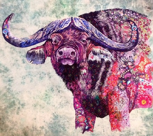 Buffalo. Textile embroidery by British fine artist Sophie Standing
