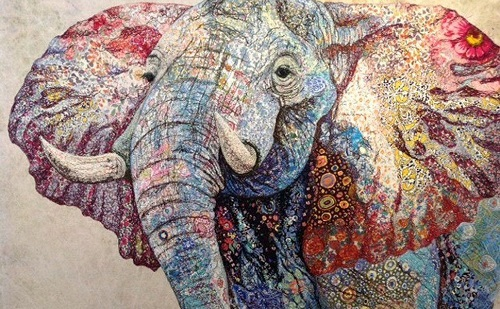 Elepahant. Textile embroidery by British fine artist Sophie Standing