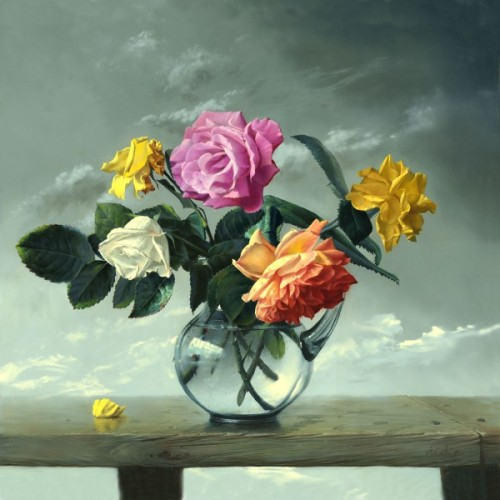 Bunch of roses. Painting by Russian painter Alexei Antono