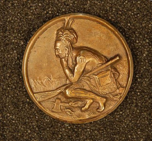 Button 'Native American' (based on painting by Benjamin West 'The Death of General Wolfe'). Copper