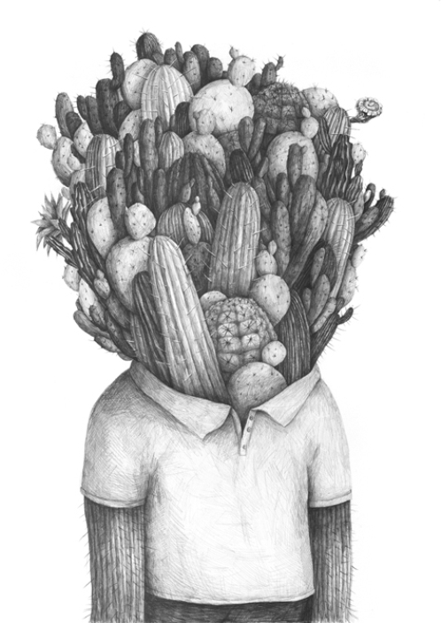 Cactusman. Pencil on paper. 2013
