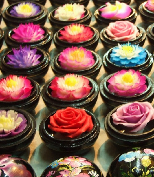 Carved soap flowers in Thailand